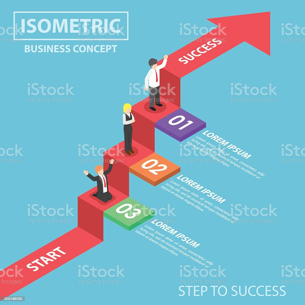 Isometric businesspeople on business graph ladder vector art illustration