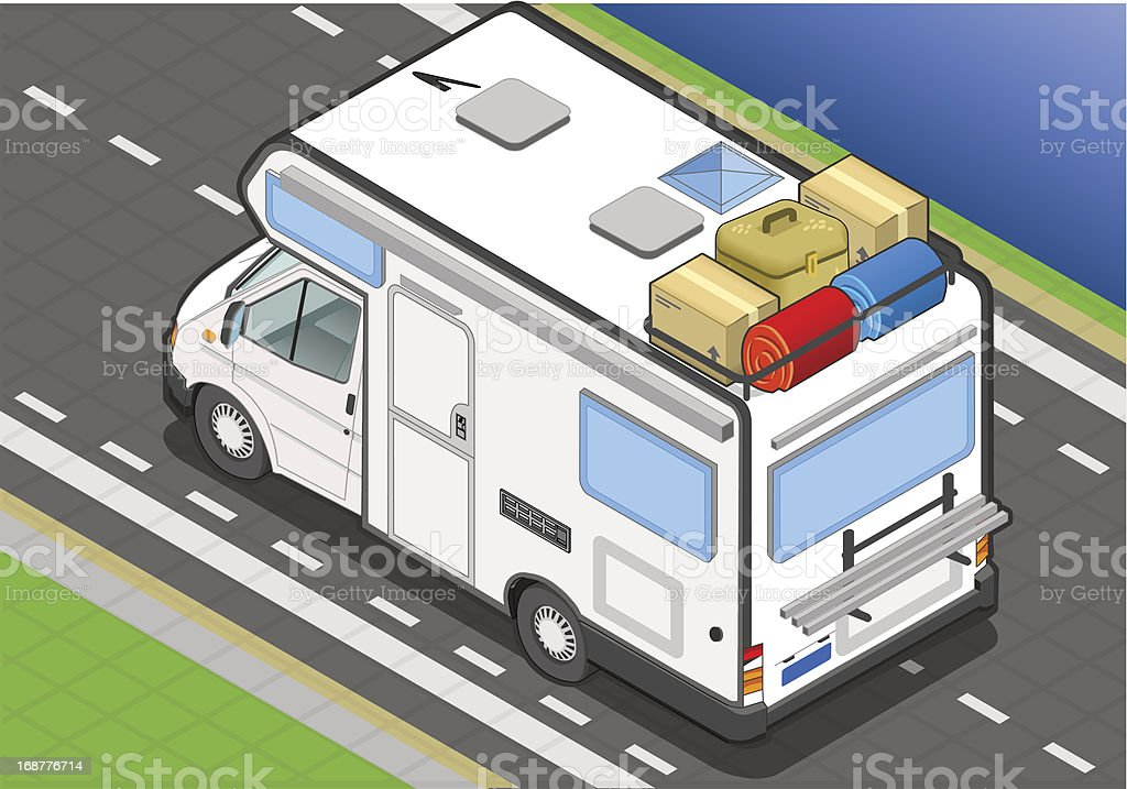 Isometric Camper on the Way in Rear View royalty-free stock vector art