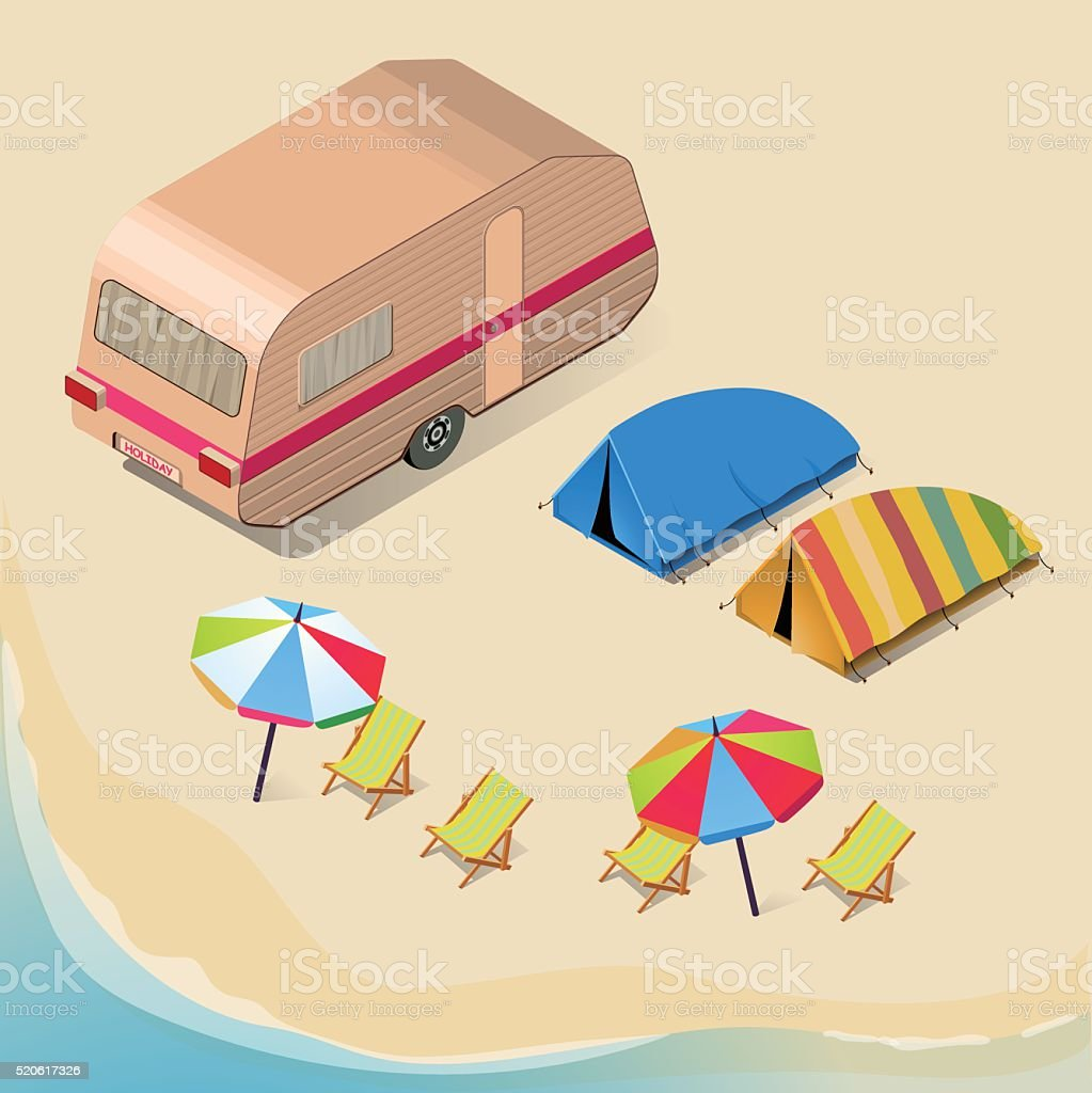 Isometric Camping Background vector art illustration