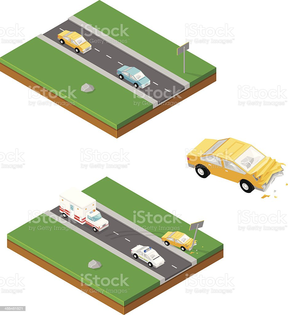 Isometric Car Crash vector art illustration