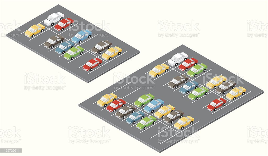 Isometric Car Parks royalty-free stock vector art