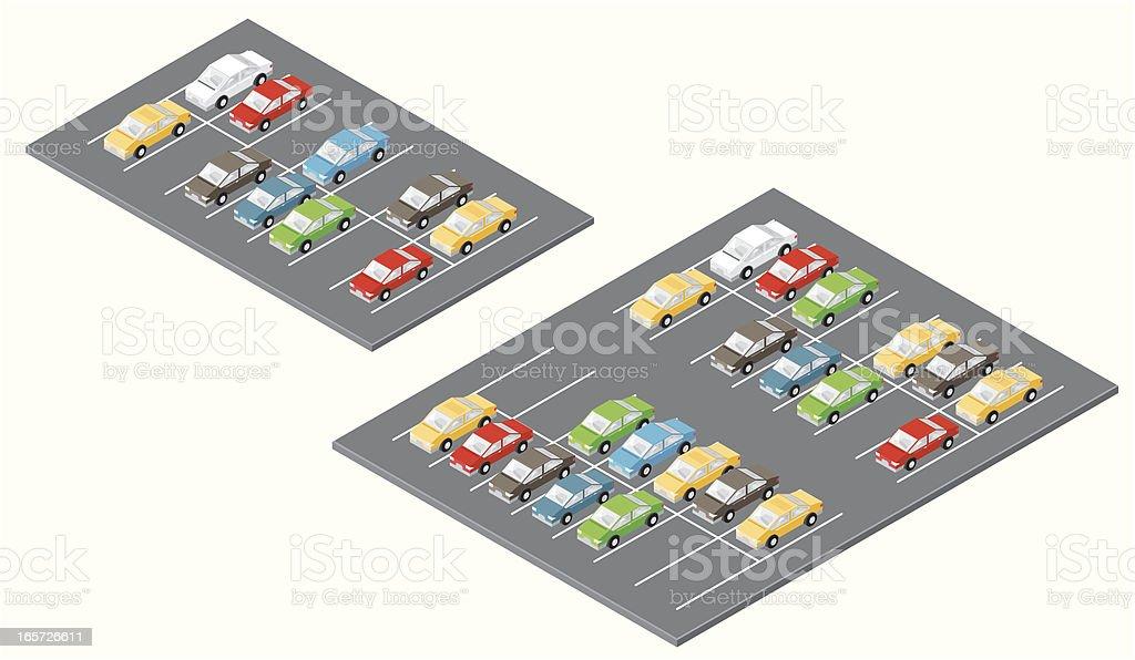 Isometric Car Parks vector art illustration