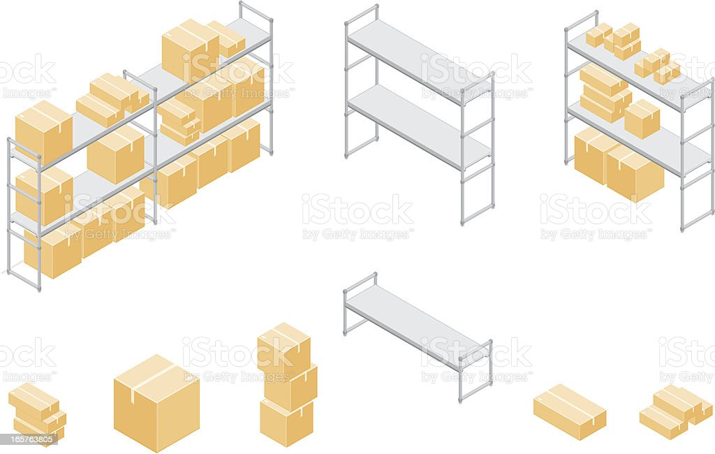 Isometric Cardboard Boxes and Shelves. royalty-free stock vector art