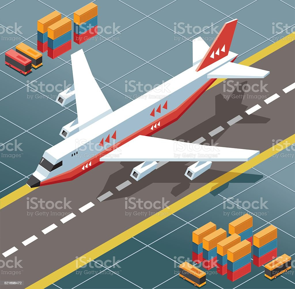 isometric cargo plane at airport vector art illustration