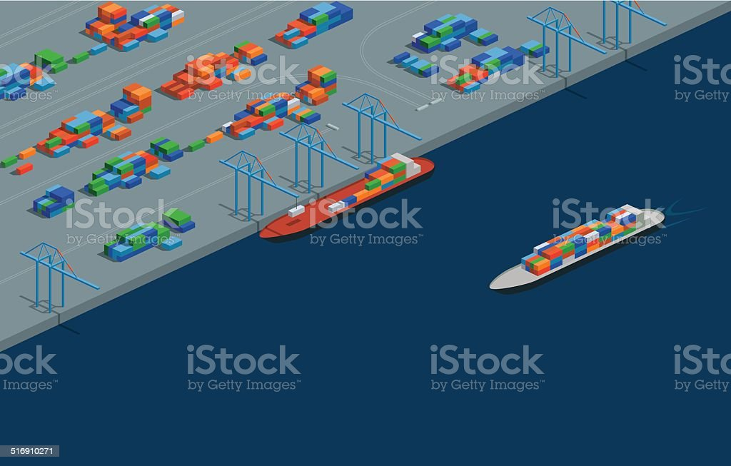 Isometric Cargo Port vector art illustration