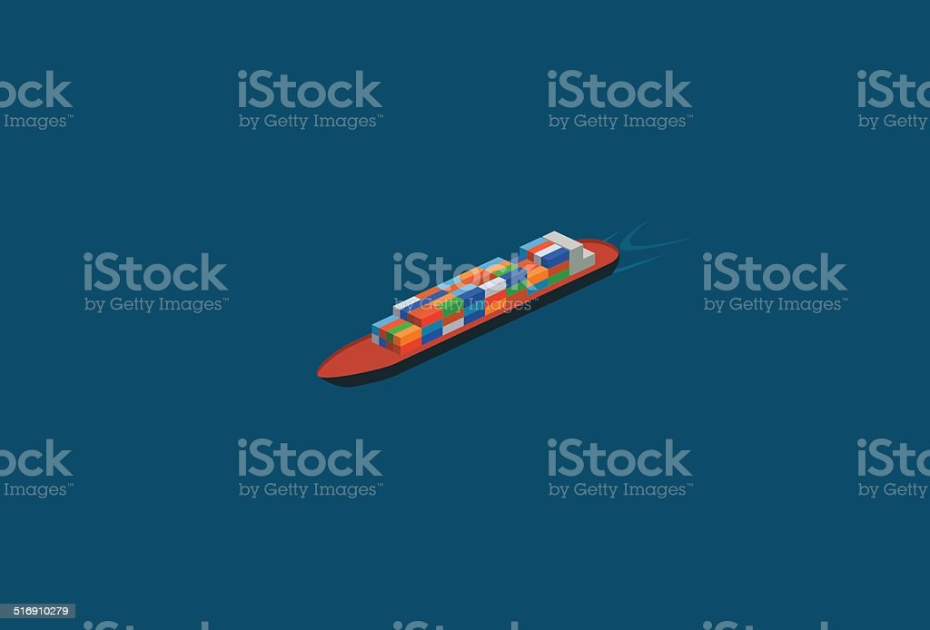 Isometric Cargo Ship vector art illustration