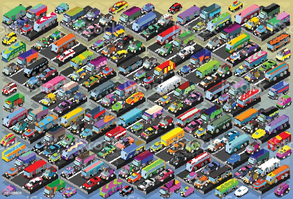 Isometric Cars, Buses, Trucks, Vans, Mega Collection All In vector art illustration