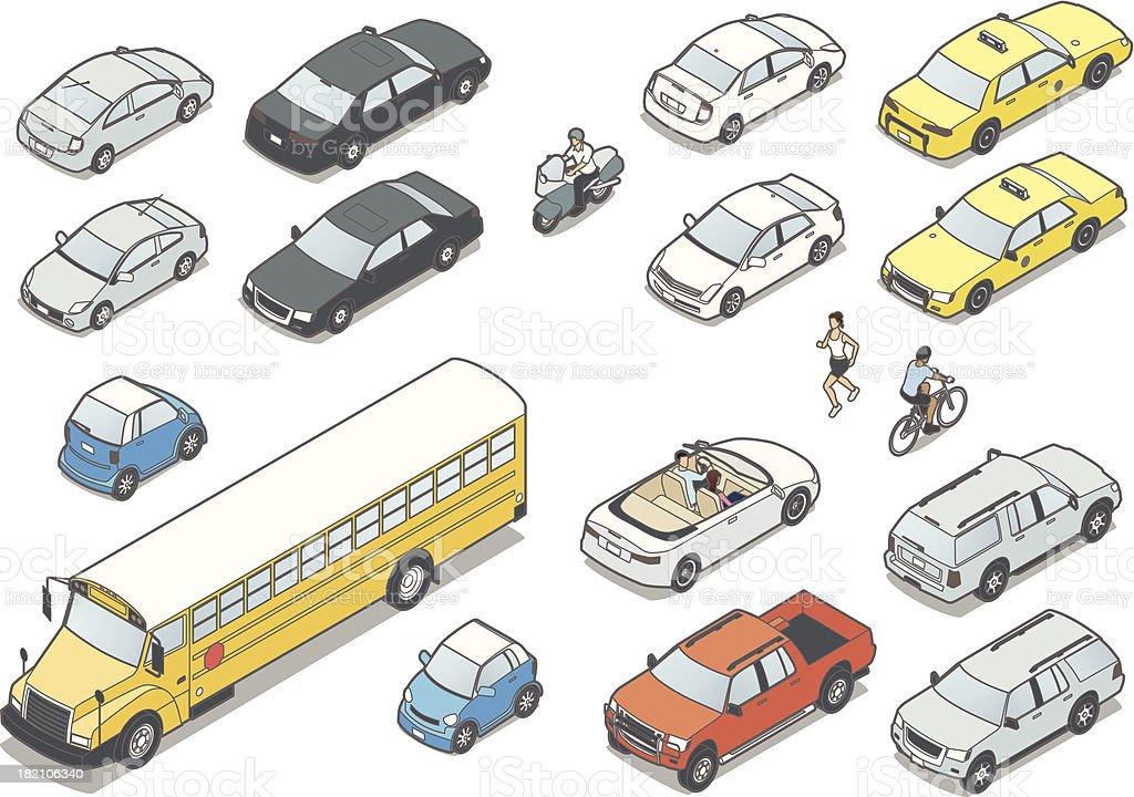 Isometric Cars vector art illustration