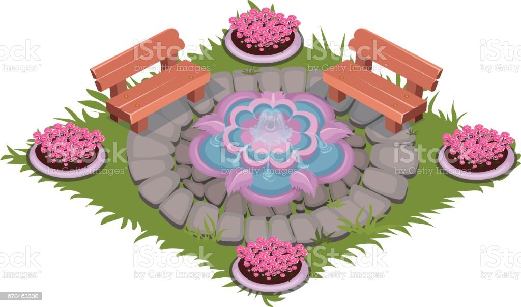 Isometric Cartoon Paved Square Patio with Fountain, Benches and Flowerbeds vector art illustration