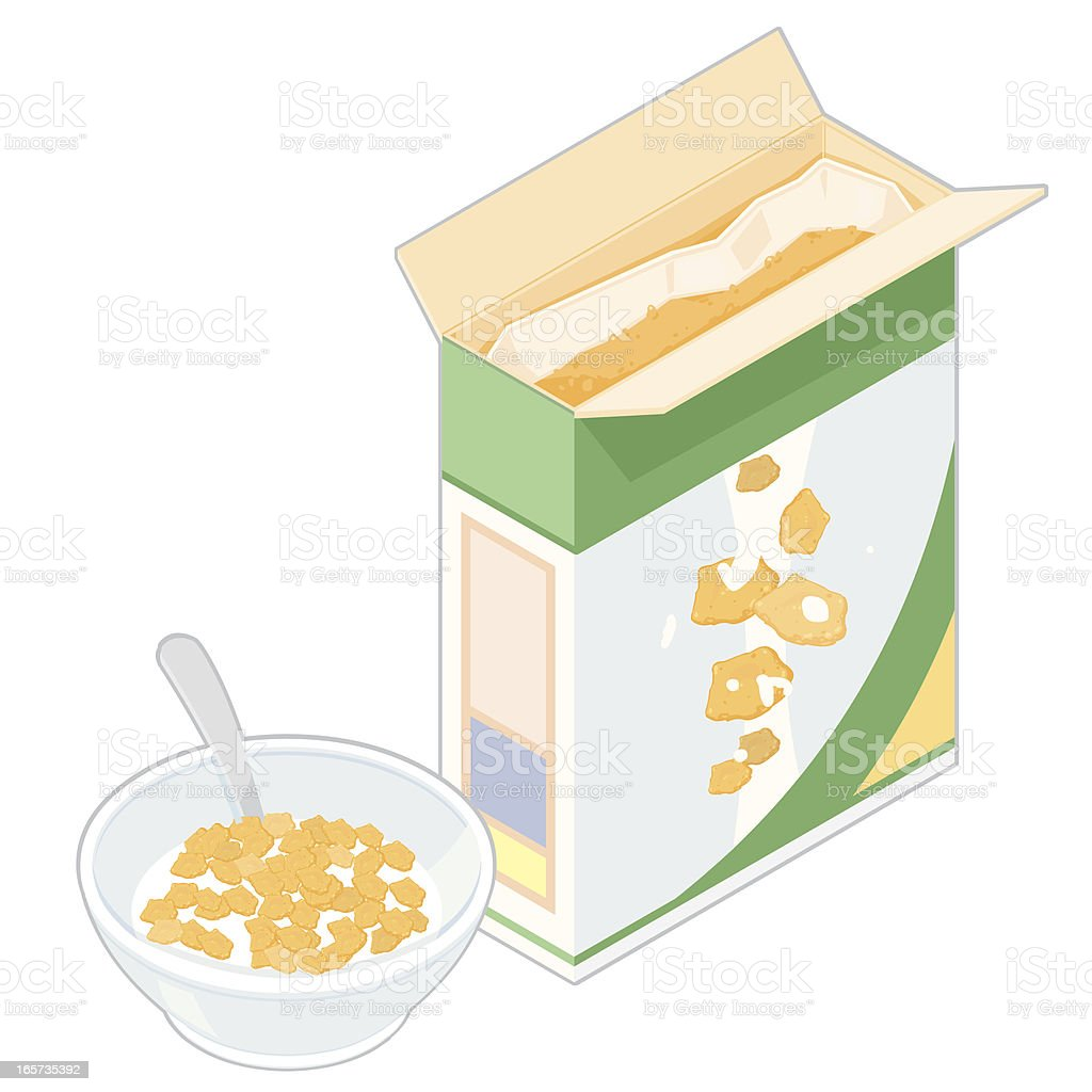 Isometric Cereal Box with Bowl. vector art illustration