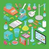 Isometric Chemical Research Elements Set