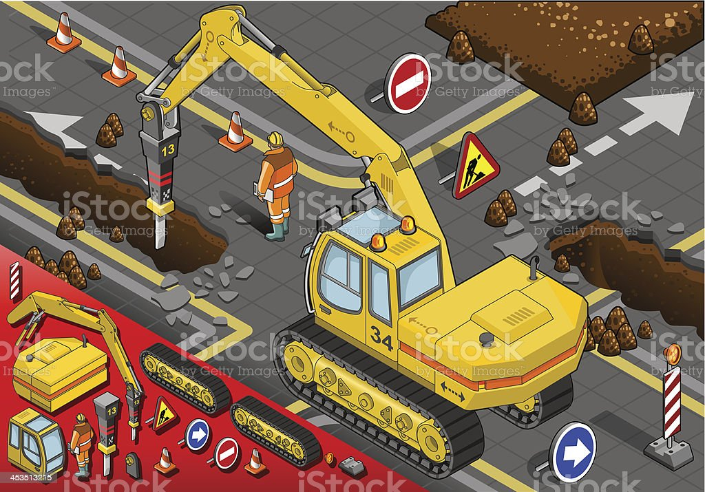 Isometric Chisel Excavator in Rear View royalty-free stock vector art