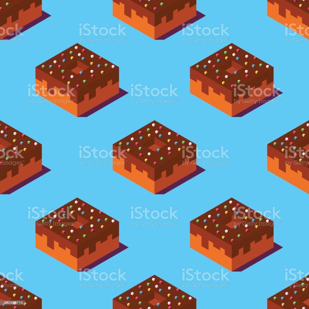 Isometric chocolate donuts illustration. vector art illustration