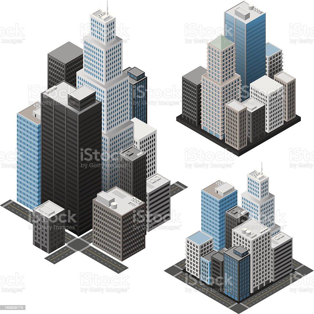 Isometric cities vector art illustration