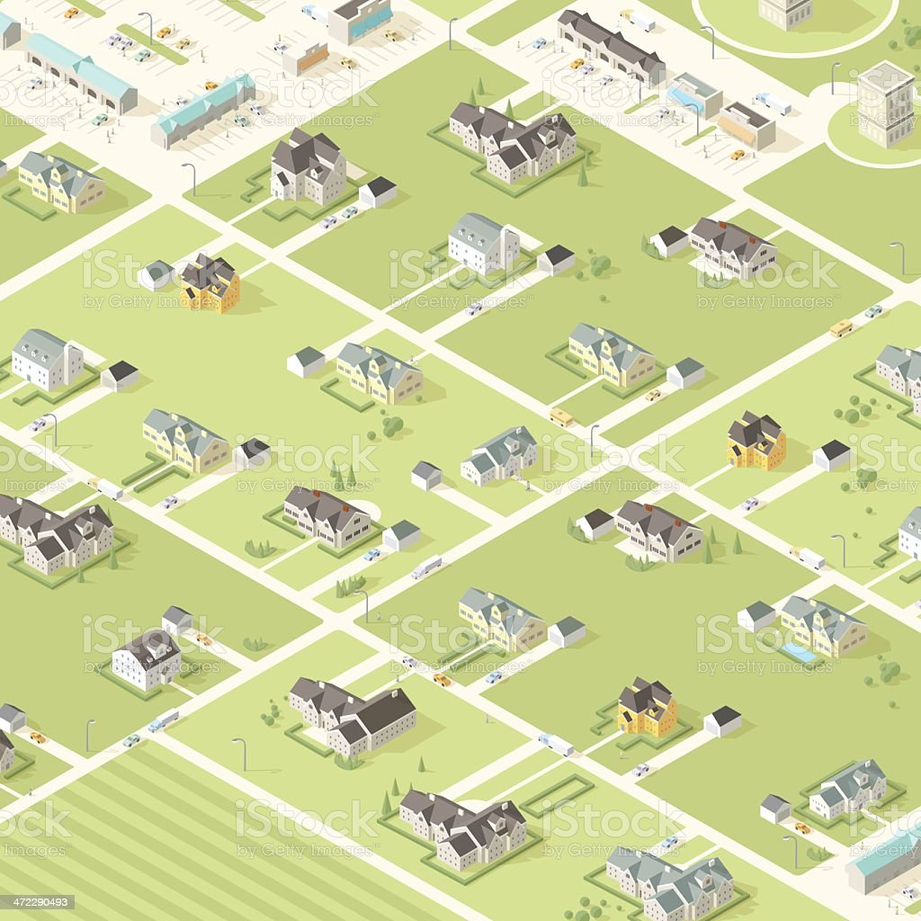 Isometric City and Buildings with People royalty-free stock vector art