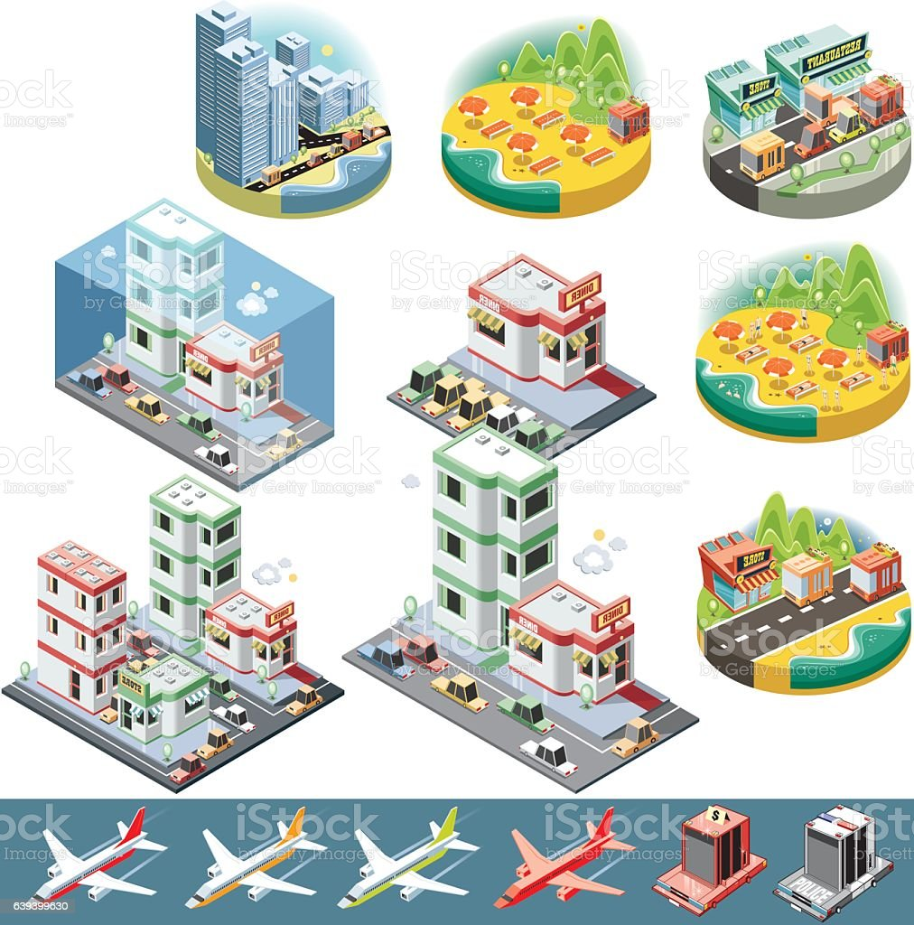 Isometric city and objects vector art illustration