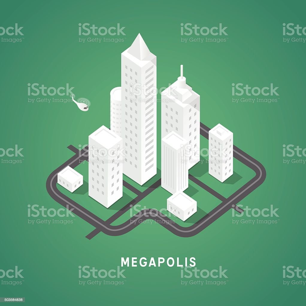 Isometric city buildings vector art illustration
