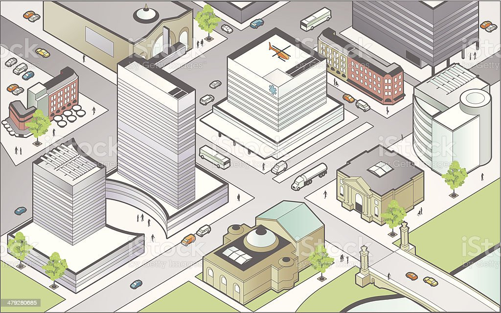 Isometric City Center vector art illustration
