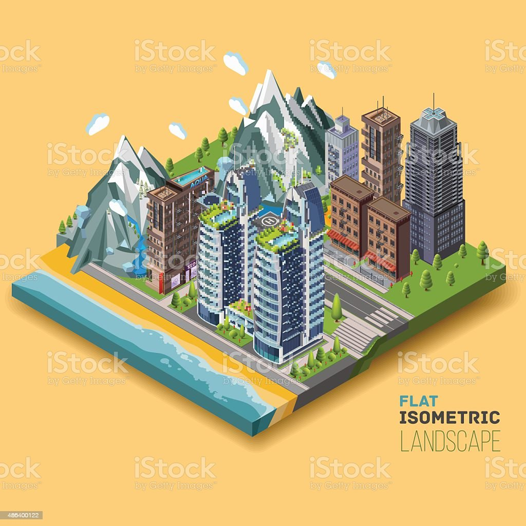 Isometric city concept, part of the land to the sea vector art illustration