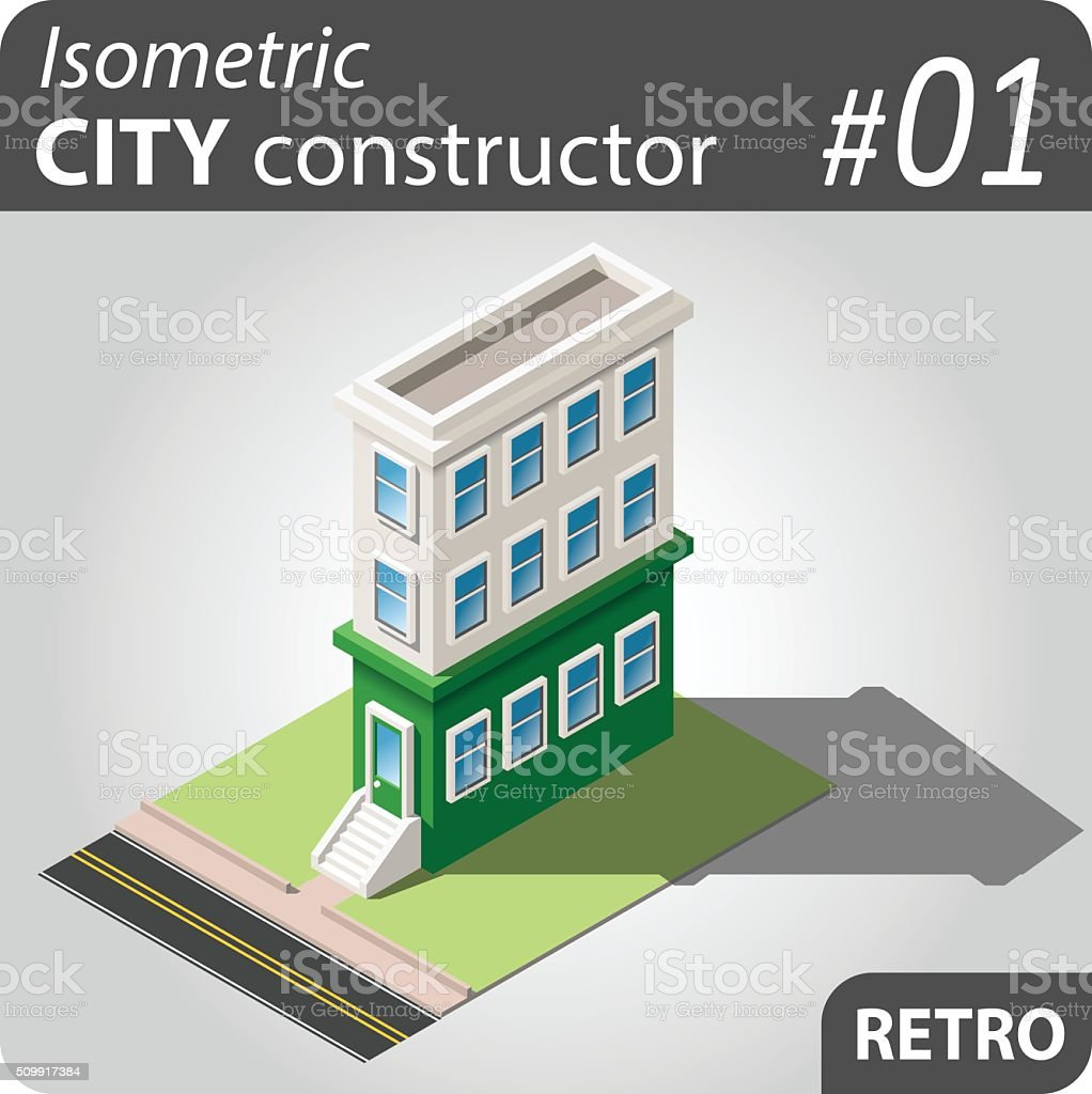 Isometric city constructor - 01 vector art illustration