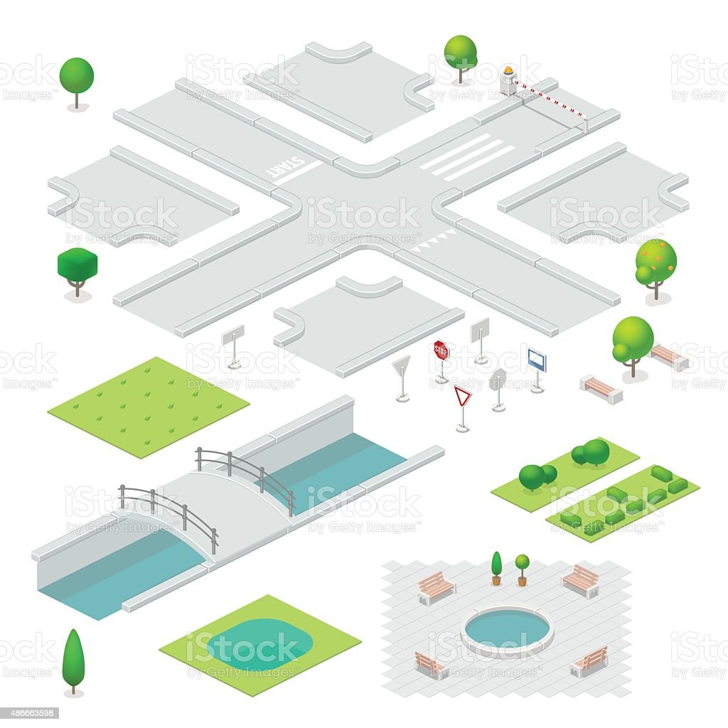 Isometric city elements vector art illustration