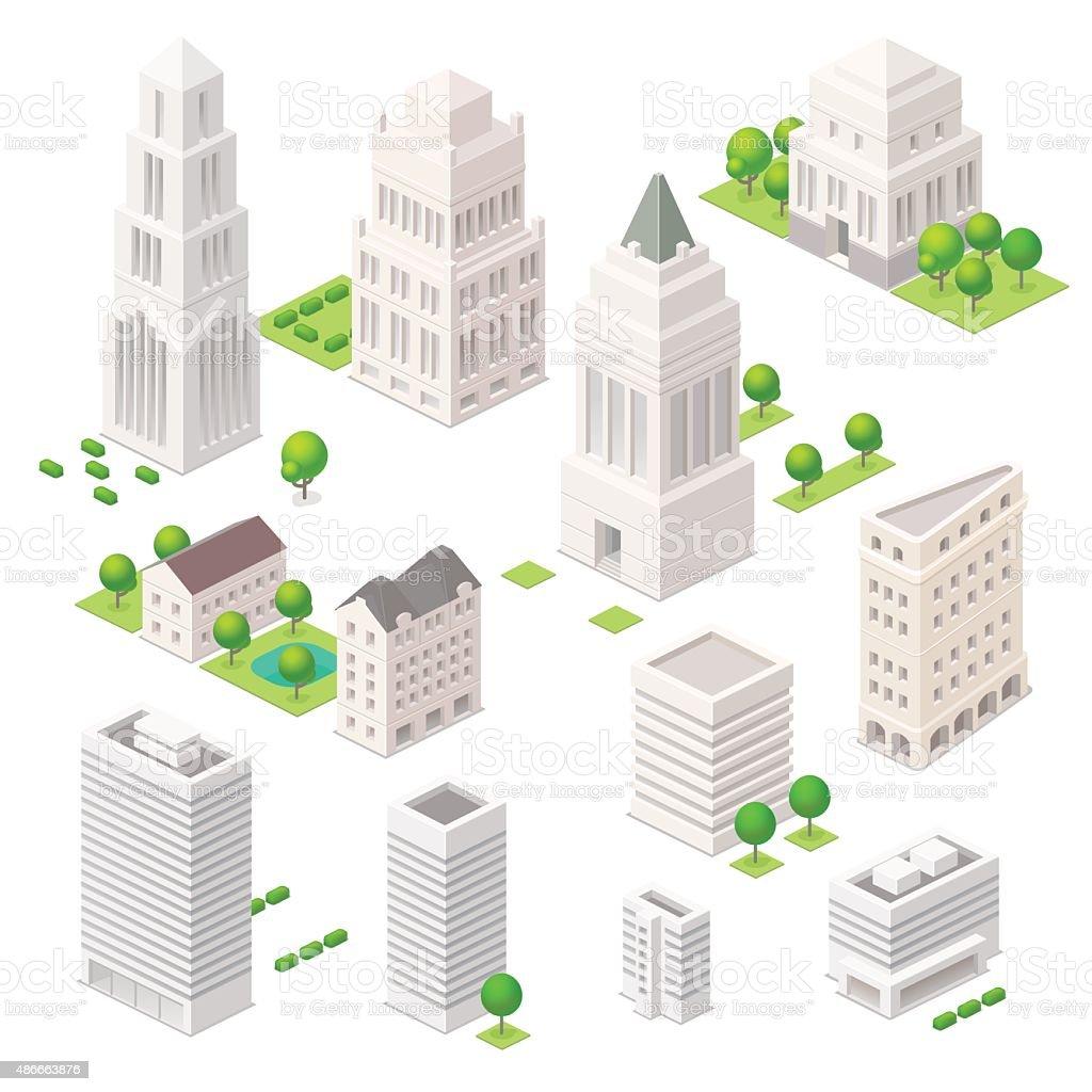 Isometric city elements. vector art illustration
