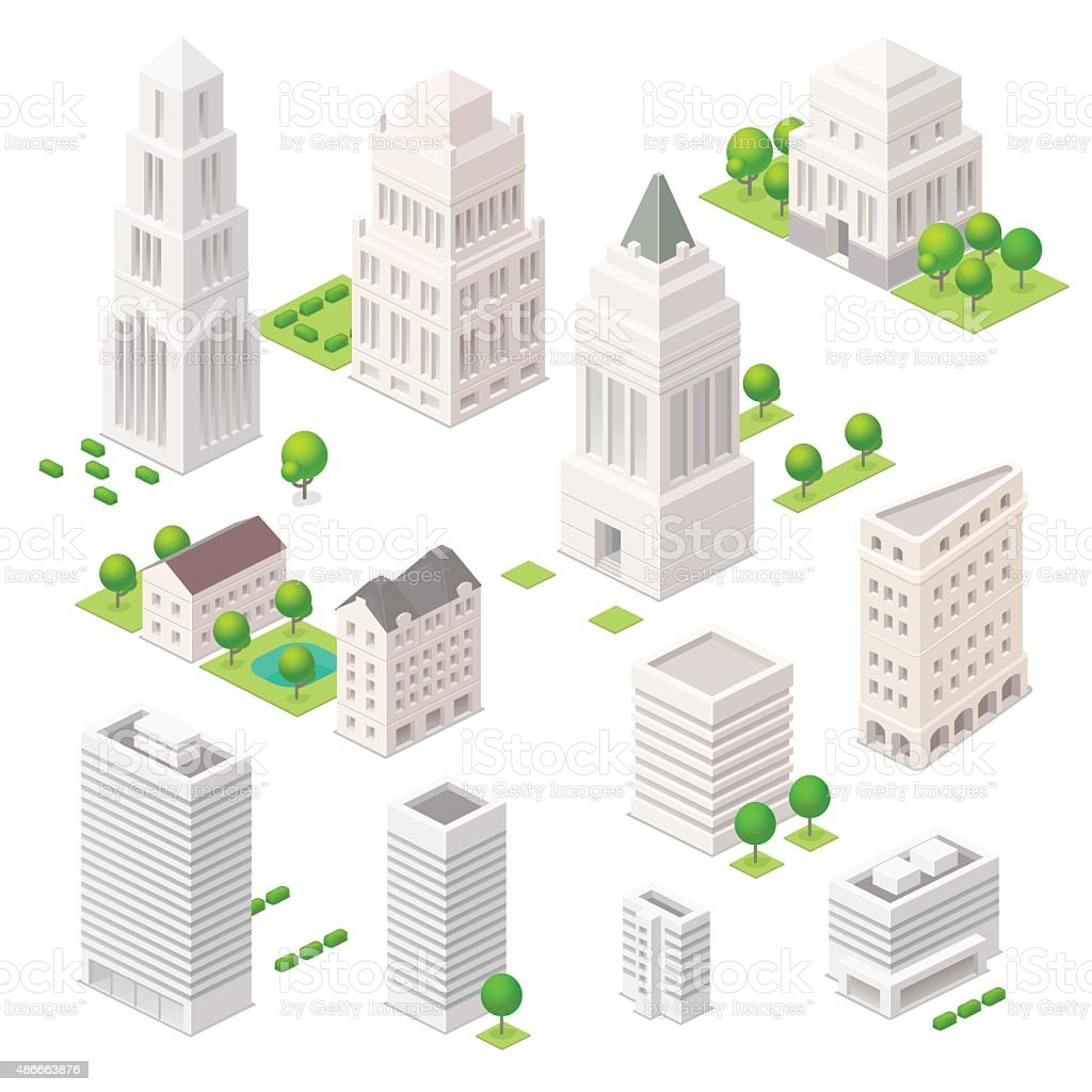 Isometric city elements. vector art illustration