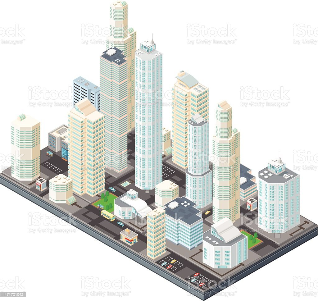 Isometric City Illustration. vector art illustration