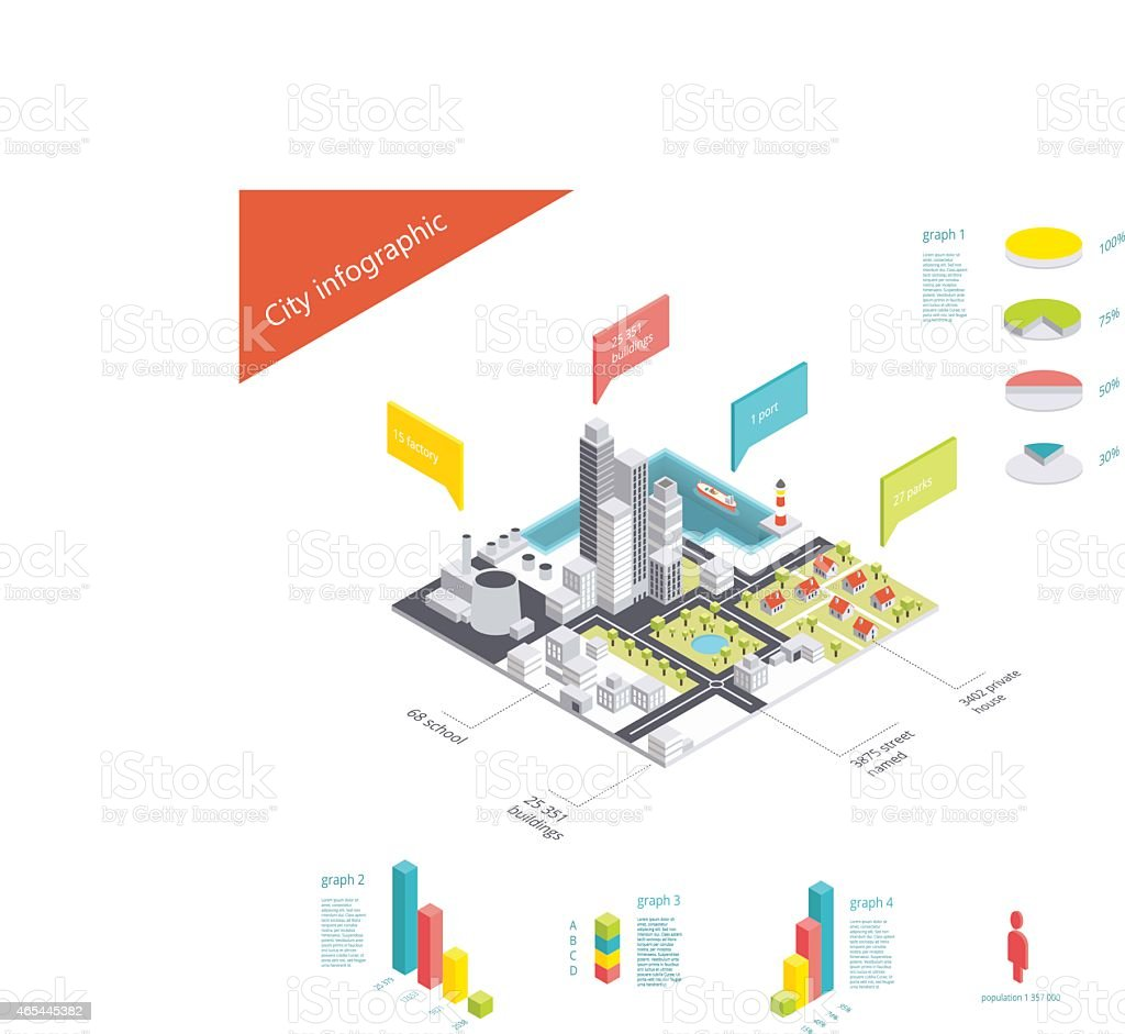 Isometric city infographic vector art illustration