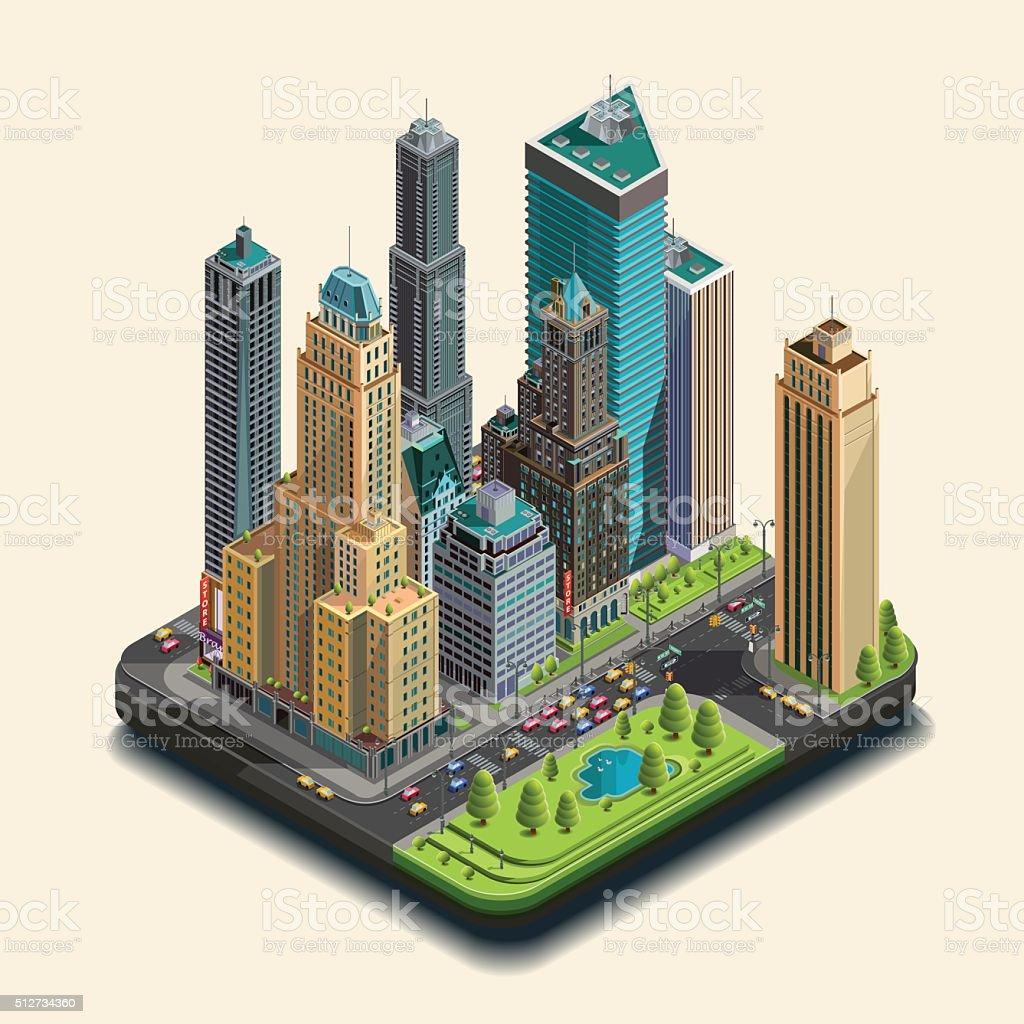 Isometric city, megapolis, vector concept 3d. vector art illustration