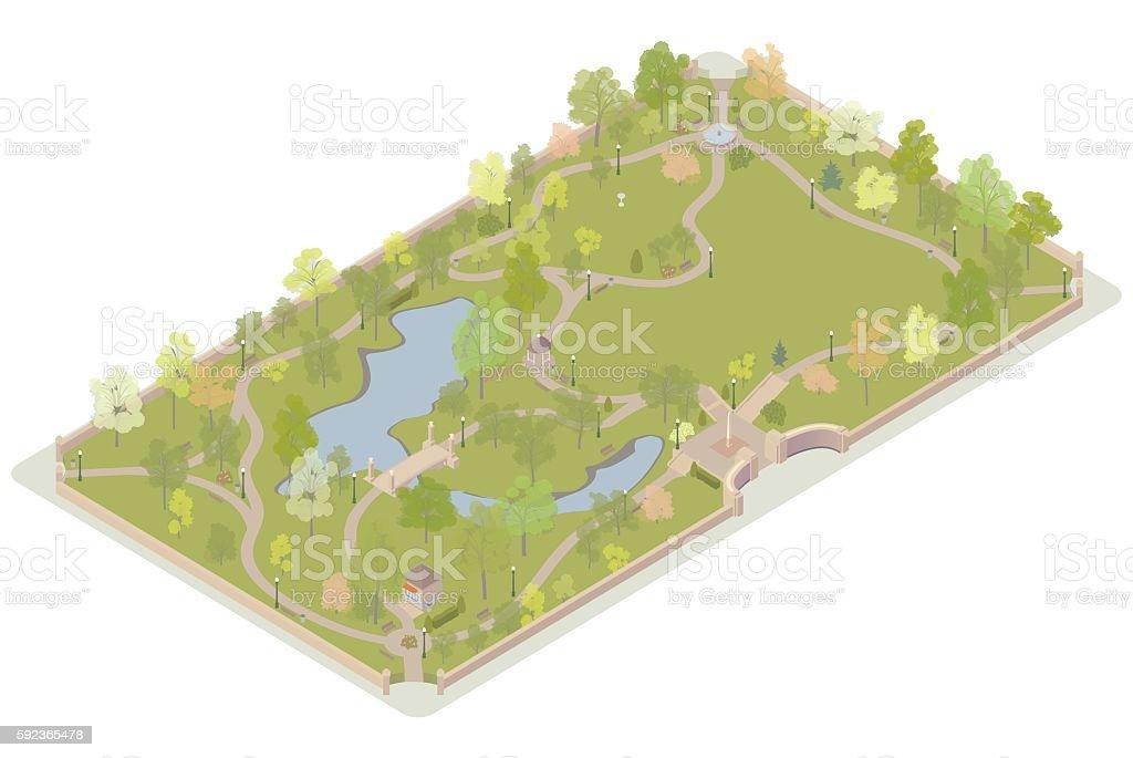 Isometric city park illustration vector art illustration