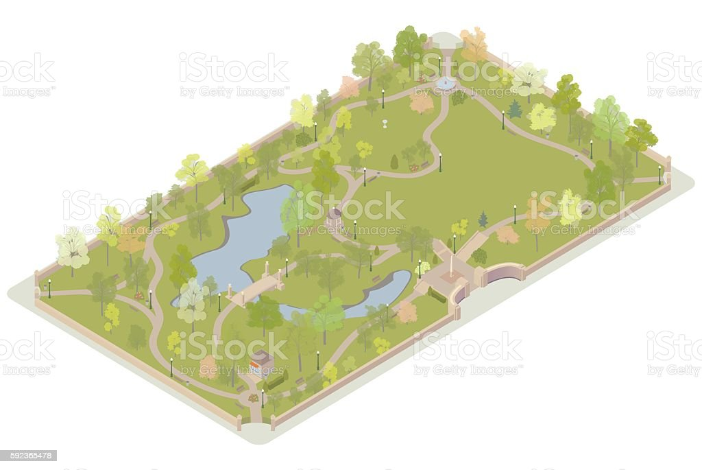 Isometric city park illustration vector art illustration