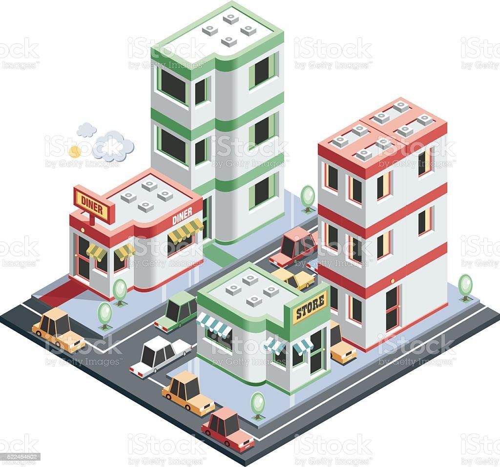 isometric city scene vector art illustration