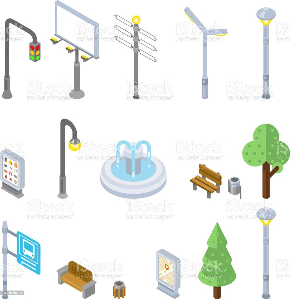 Isometric city street icons. Vector 3d urban objects vector art illustration