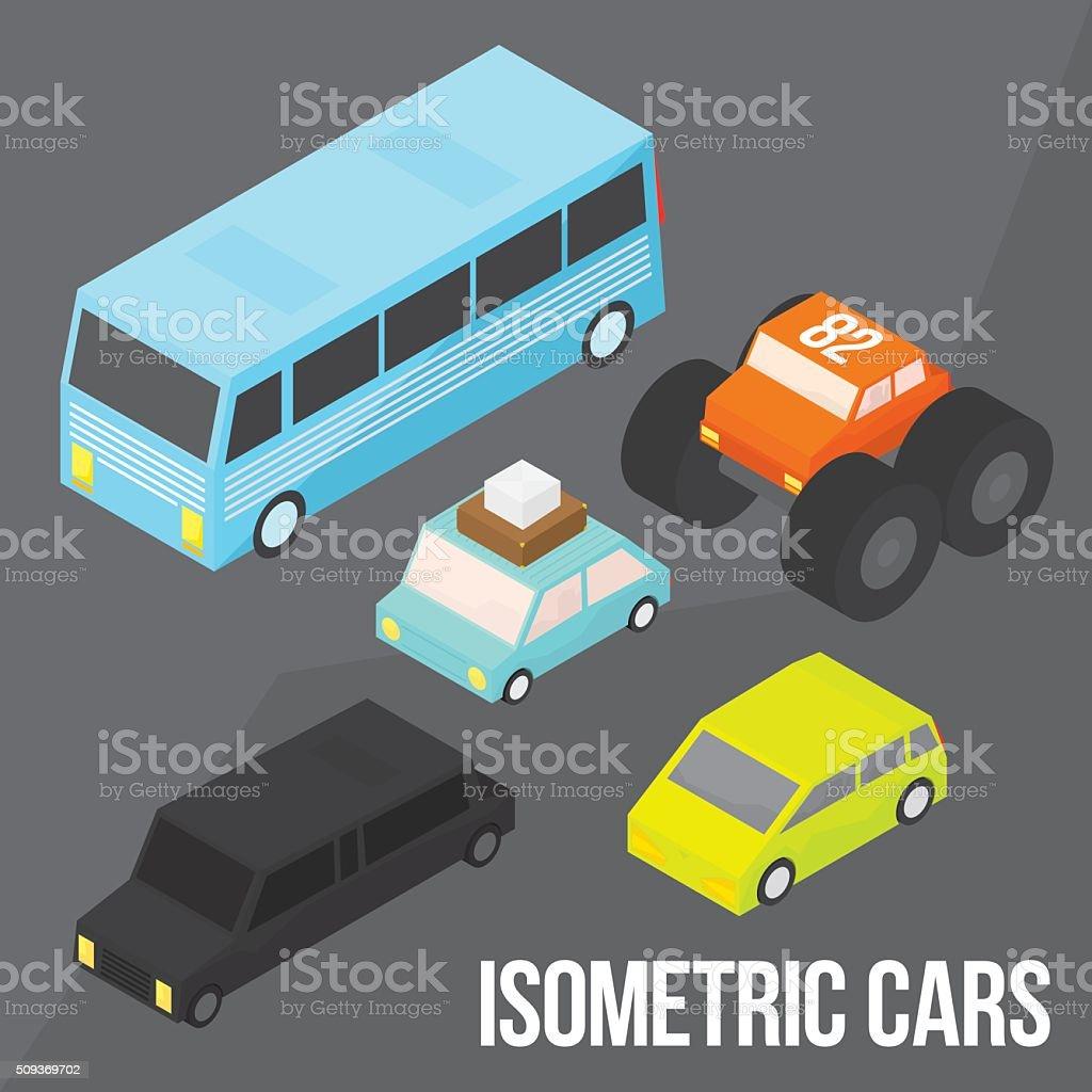 Isometric city transportation vector objects pack vector art illustration