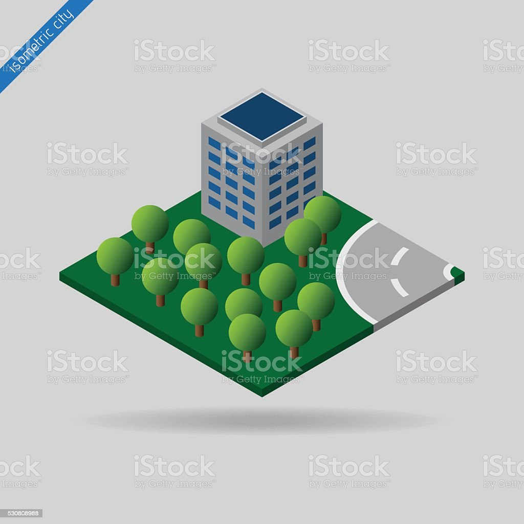 isometric city - trees. building and road vector art illustration