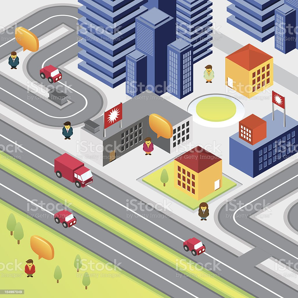 Isometric city with skyscrapers and people royalty-free stock vector art