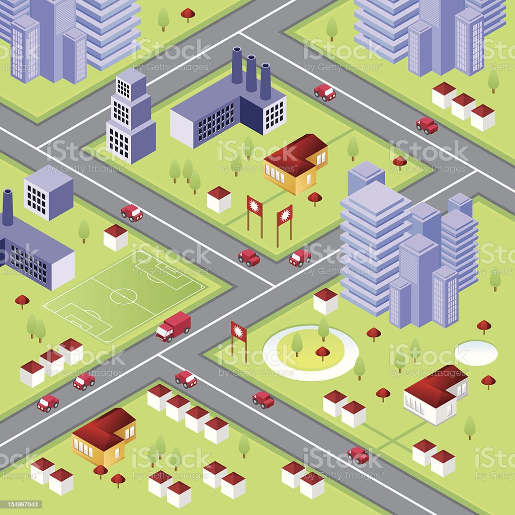Isometric city with skyscrapers royalty-free stock vector art