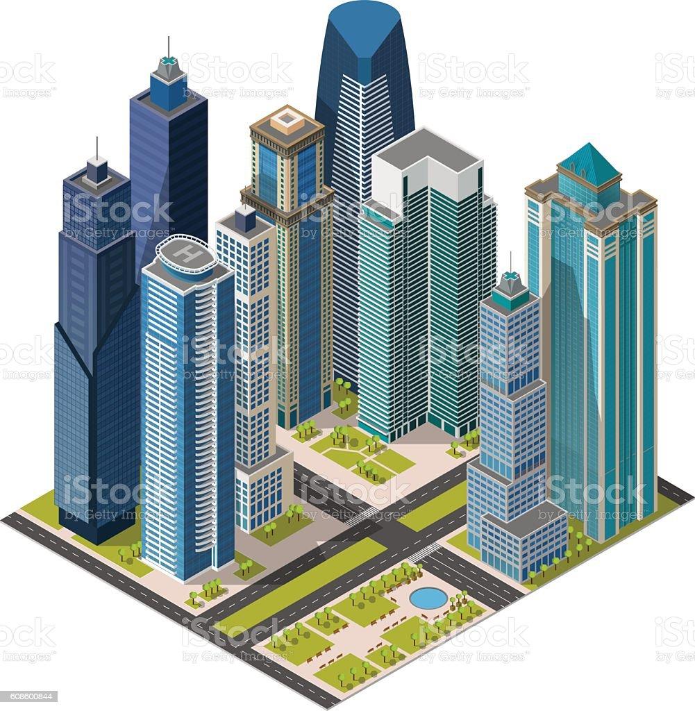 Isometric city,megapolis concept office buildings, skyscraper, landmarks 3d vector art illustration