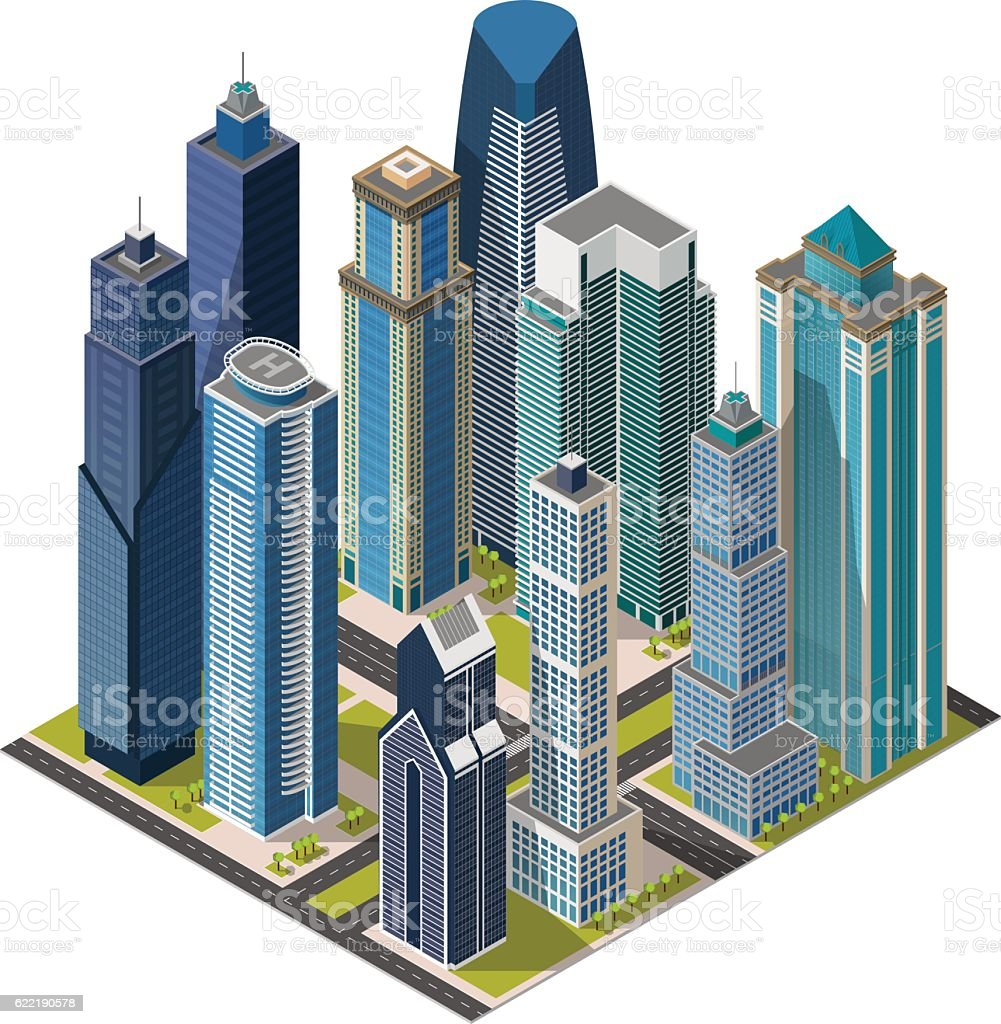 Isometric city,megapolis concept office buildings, skyscraper, landmarks 3d vector art illustration