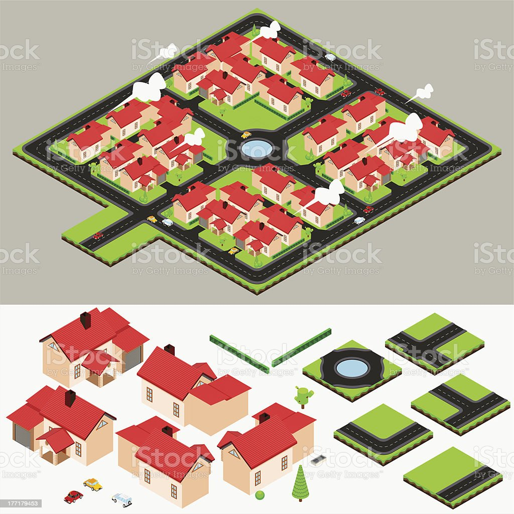 Isometric Cluster House Collection Set vector art illustration