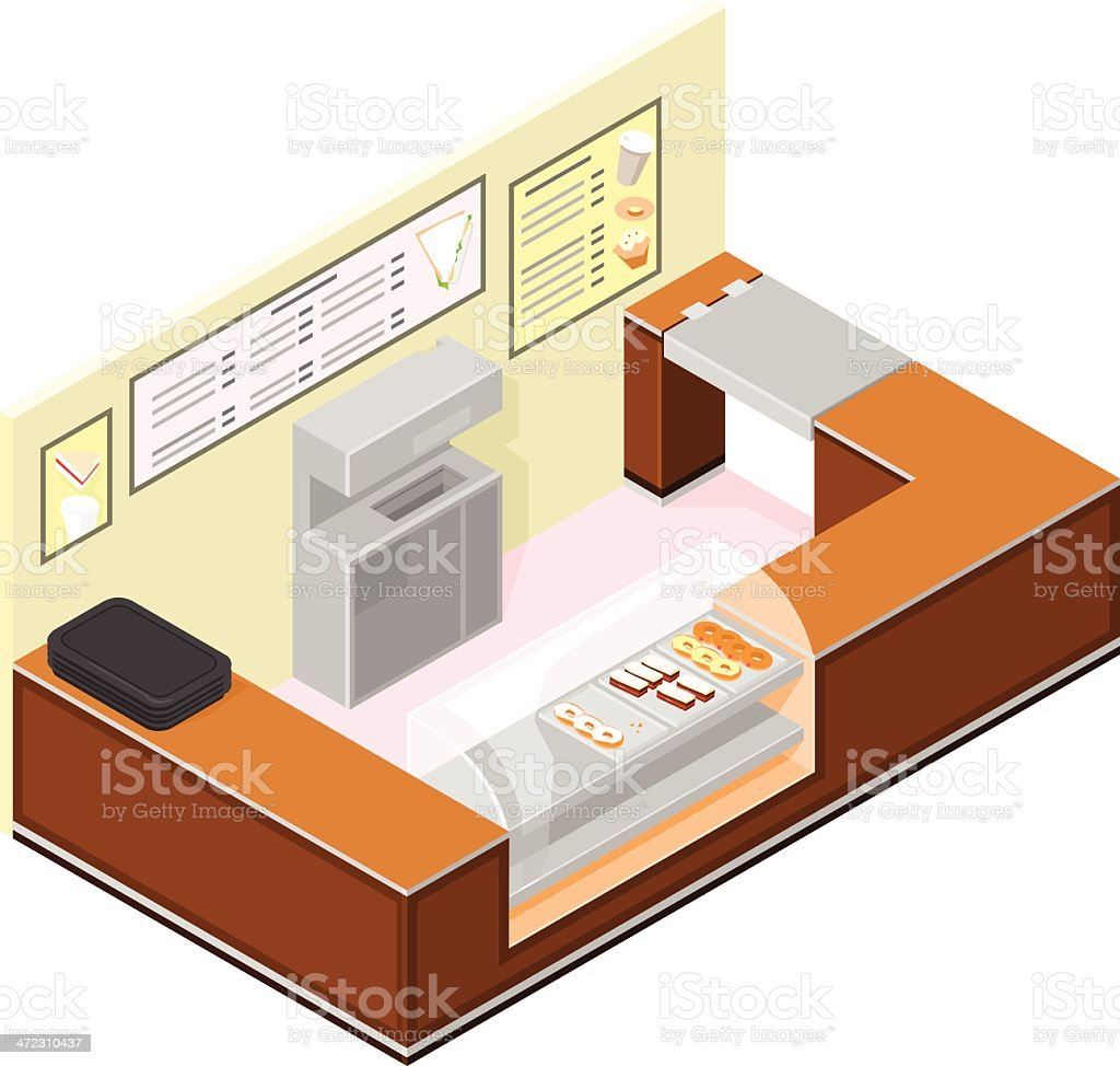 Isometric Coffee and cake shop counter vector art illustration