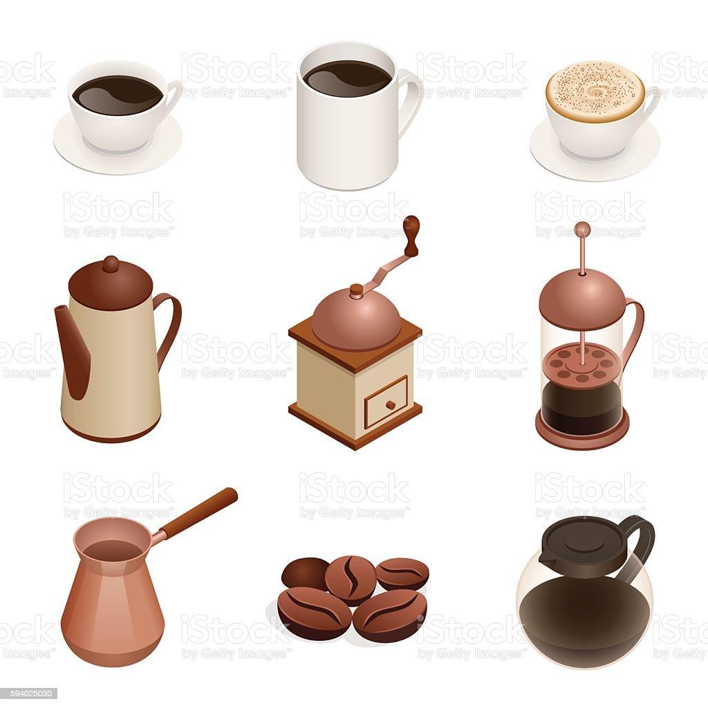 Isometric Coffee Icons vector art illustration