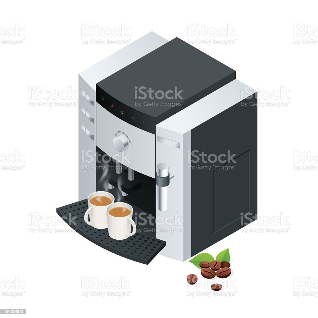 Isometric Coffee machine makes two  with  beans vector art illustration