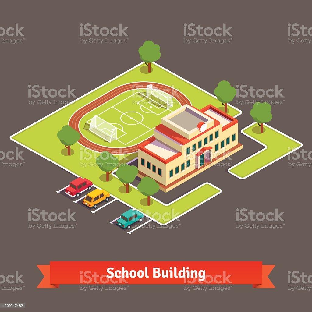 Isometric college campus or school building vector art illustration