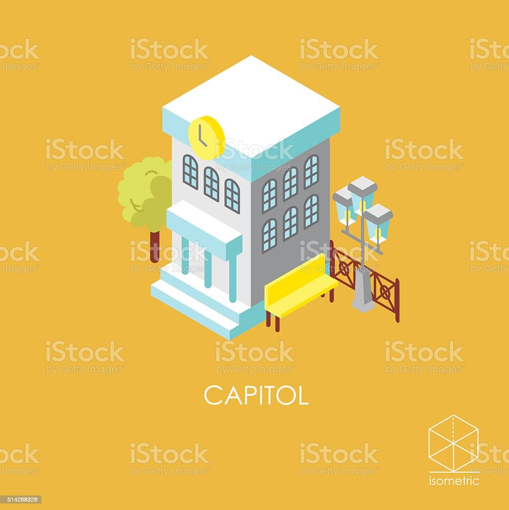Isometric color vector icon city hall vector art illustration