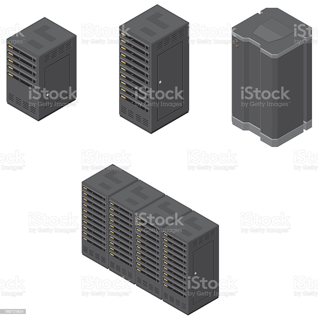 Isometric Computer Network Severs vector art illustration