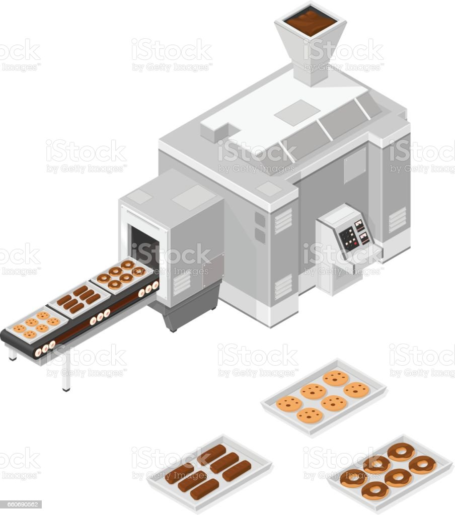 Isometric confectionery production line. vector art illustration