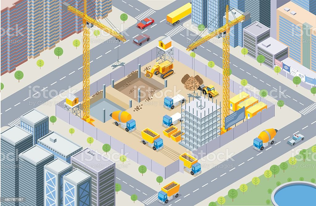 Isometric, construction site vector art illustration