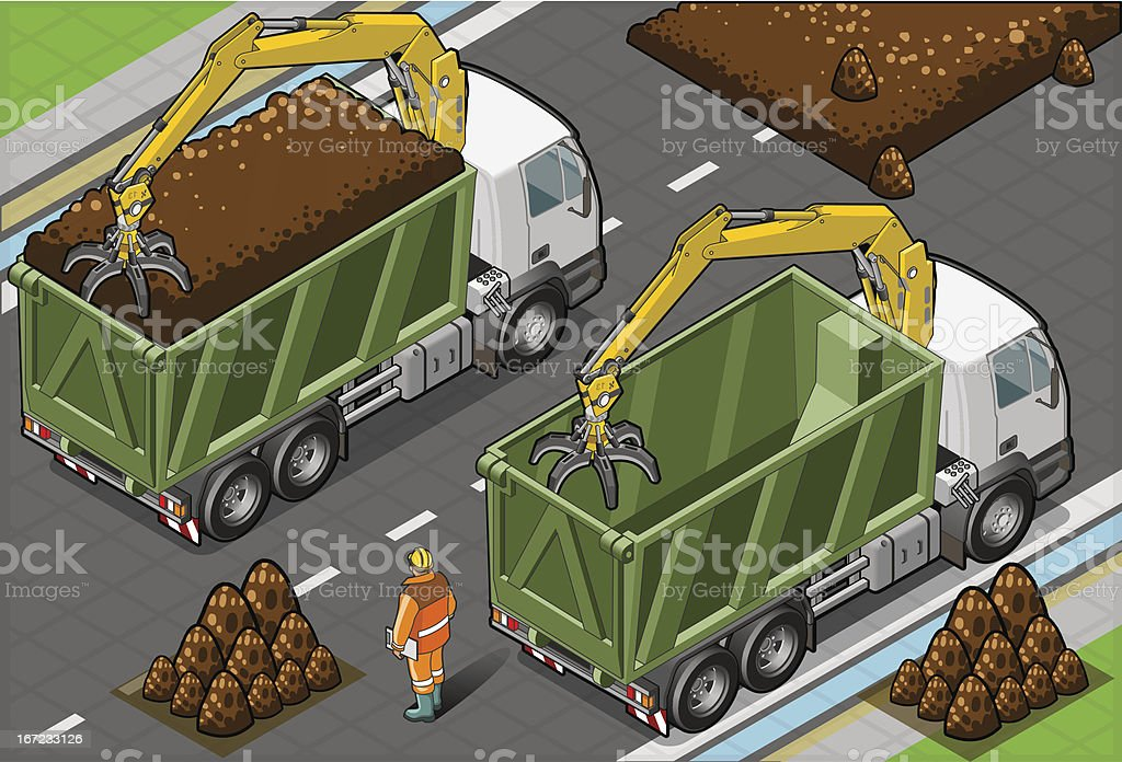Isometric Containers Trucks with Arm in rear view royalty-free stock vector art